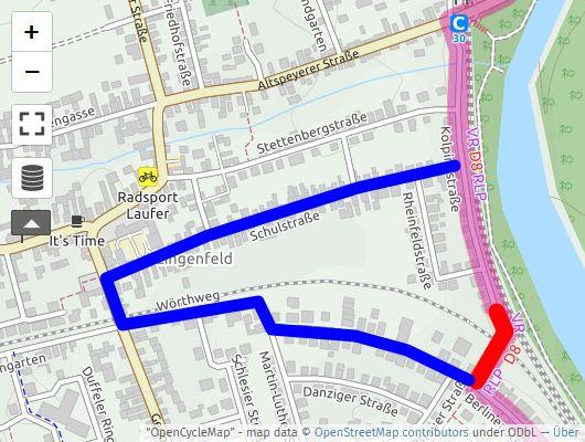 Karte der Umleitung und der Sperre bei Openstreetmap.fr
